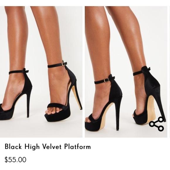 1809eaf0953 Black velvet platform heel stiletto